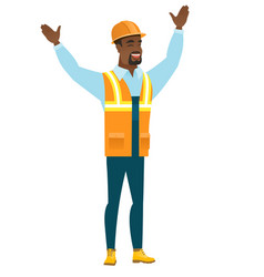 constructor standing with raised arms up vector image vector image