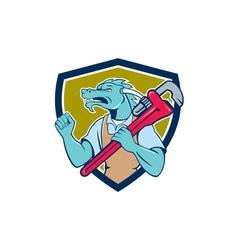 Dragon plumber monkey wrench fist pump shield vector