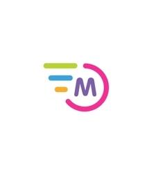 Fast line circle logo m rings monogram vector