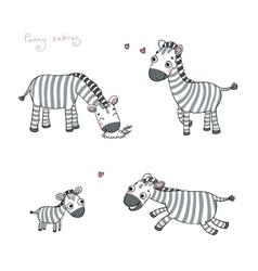 Funny cartoon zebras vector image