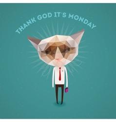 Funny sad cat - thank Got its monday vector image