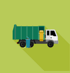 garbage truck with long shadow vector image vector image
