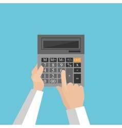 gray calculator with hands on a blue vector image vector image