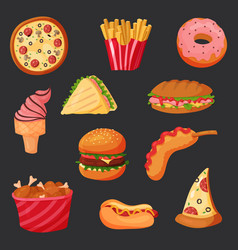 greasy fast or junk food snack hot dog and fries vector image vector image