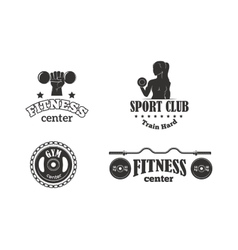 Gym fitness symbols set vector image vector image
