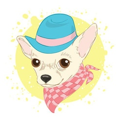 Hand drawn of hipster dog for cards t-shirt print vector image