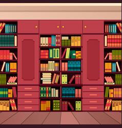 Library bookshelves wall vector