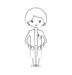 Line woman doctor with medical uniform vector