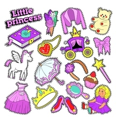 Little girl princess badges patches stickers vector
