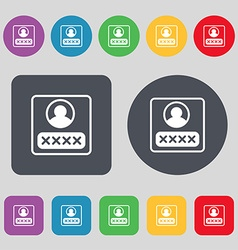 Modern depicting a login icon sign a set of 12 vector
