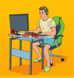 Pop art frustrated man playing video games vector
