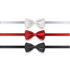 realistic white black and red bow tie vector image vector image