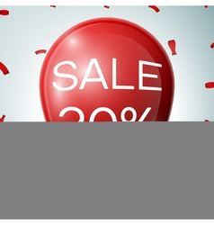 Red baloon with 20 percent discounts sale concept vector
