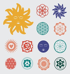 Sacred geometry icons set vector
