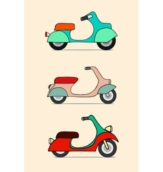 Scooter retro transport vintage motorcycle vector