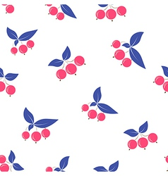 Seamless pink berry pattern blue leaves on white vector image vector image