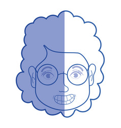 silhouette woman face with hairstyle and glasses vector image
