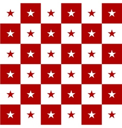 Star red white chess board background vector
