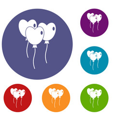 Three balloons in the shape of heart icons set vector