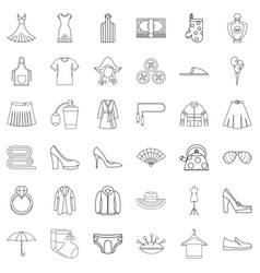 Underpants icons set outline style vector