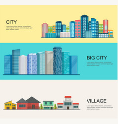 Urban and village landscape big modern city vector