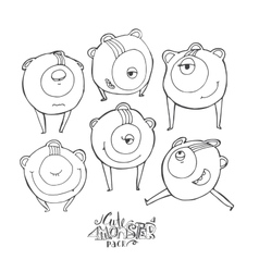 with black and white cute vector image vector image
