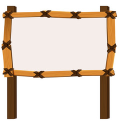 wooden frame on white background vector image vector image