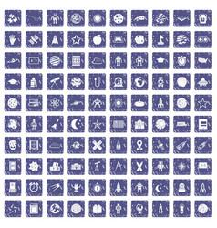 100 astronomy icons set grunge sapphire vector