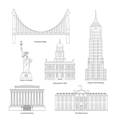 America thin line art vector