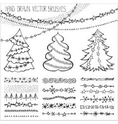 Holiday brusheschristmas doodles setblack vector