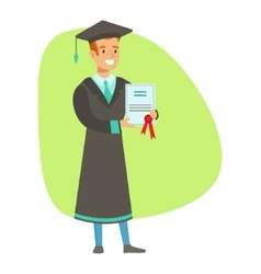 Graduate student holding insurance contract vector