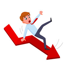 Businessman falling from the red chart arrow vector