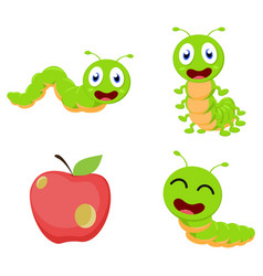 cute caterpillar cartoon cartoon collection set vector image