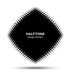Convex abstract halftone distorted rhombus frame vector