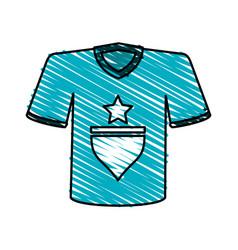 Color crayon stripe cartoon blue soccer t-shirt vector
