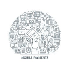 Mobile payments thin line concept vector