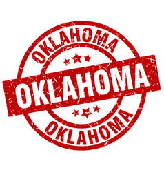 Oklahoma red round grunge stamp vector