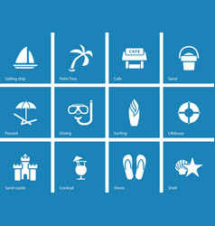 Beach icons on blue background vector