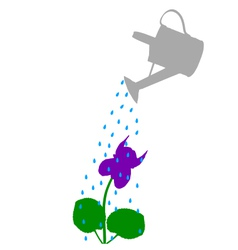 Watering pot and flower vector