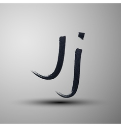 Calligraphic hand-drawn marker or ink letter j vector