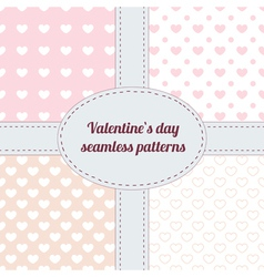Set of valentine seamless patterns with hearts vector