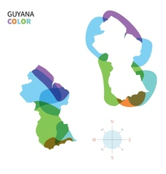 Abstract color map of guyana vector