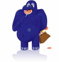 blue monster vector image