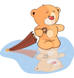 A stuffed toy bear cub and an umbrella cartoon vector