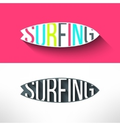 Surf typography inside surging board t vector