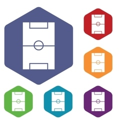 Football field icon hexagon set vector