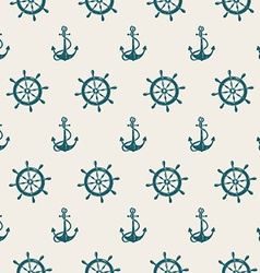 Seamless pattern of sea anchors and wheels vector