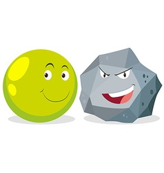 Ball and rock with facial expression vector