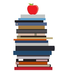 Book stack and apple vector