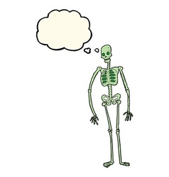 Cartoon spooky skeleton with thought bubble vector